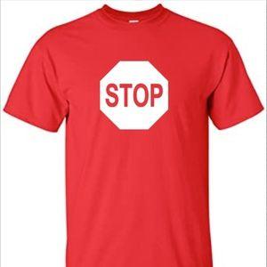 STOP LOGO  COTTON T-SHIRT